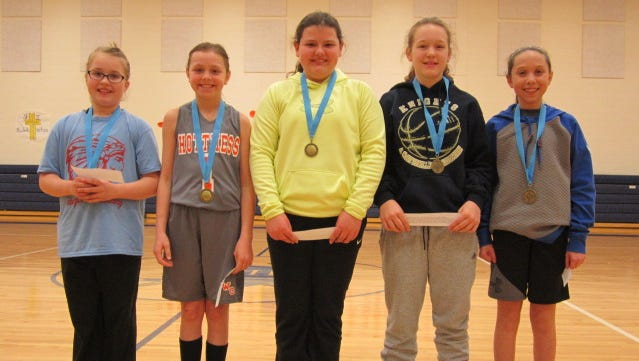Winners of the Knights of Columbus Kentucky District 3 Free Throw Challenge on Sunday in Morganfield were, from left, Jaylen Tackett (9), Sturgis; Dana Curry (10), Sturgis; Emma Wright (11), Sturgis; Lillian Goodloe (12), Morganfield and Grace Gough (13), Morganfield.