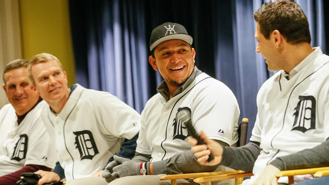 Detroit Tigers first baseman Miguel Cabrera and the some of the team stop by the Detroit Police Public Safety headquarters in downtown Detroit for a rally to present the DPD with a Tigers jersey commemorating their 150 years of service before the team leaves town for spring training on Thursday, Jan. 21, 2016.
