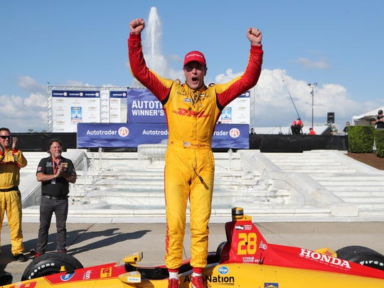 Ryan Hunter-Reay celebrates after winning Race No. 2 of the Chevrolet Detroit Grand Prix at Belle Isle Park on June 3, 2018.