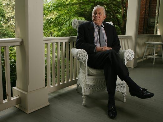 """Ben Bradlee, former executive editor of """"The Washington Post,"""" sits on the porch of his Georgetown home on May 17, 2007, in Washington. His wife said Bradlee, suffering from Alzheimer's disease, was placed in hospice care at the couple's home in mid-September 2014."""