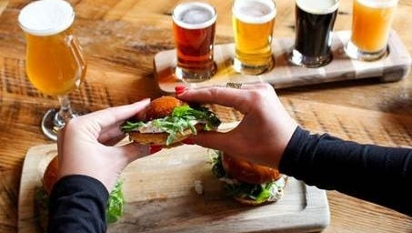 Smoked trout sliders and a beer flight from City Tap