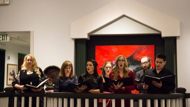 """St. George Opera Company soloists from left to right Rebecca Morris, Allison Holley Hunt, Tennile Coello, Amy Nielsen, Shannon Birch, Matthew Castleton and Esteban Senzig in """"An Evening of Art and Songs"""""""