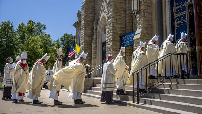 Bishops enter St. Mary's Cathedral Thursday, July 23, 2020 for the installation of The Rev. Louis Tylka as coadjutor bishop in the Catholic Diocese of Peoria.