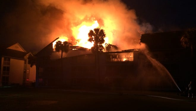 Fire destroyed a 15-unit condominium Thursday evening, displacing as many 30 people who lived in the three-story building, according to Titusville Fire & Emergency Services.