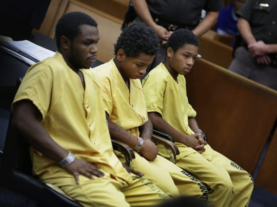 Drequone Rich, 20, from left  Jasin Curtis, 18 and Dionte Travis, 17, are charged with felony murder, armed robbery, being a felon in possession of a firearm and using a firearm in a felony in connection with Bilal Berreni's death in July 2013. The three men appeared for preliminary examination in front of Michigan 36th District Court judge Kenneth King at Frank Murphy Hall of Justice in Detroit on Thursday, Sept. 11, 2014.