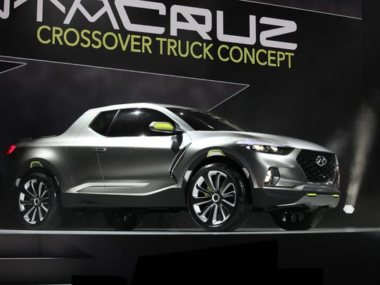Hyundai  Santa Cruz Crossover Truck Concept is introduced to the media during the 2015 North American International Auto Show at Cobo Center on Monday, Jan.12, 2015 in Detroit.