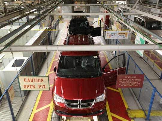 The Dodge Grand Caravan is being built at the Fiat Chrysler Automobiles assembly plant in Windsor, Canada on Monday, February 9.
