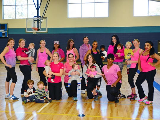 Tia Robbins with her fitness group, Bombshell Moms.