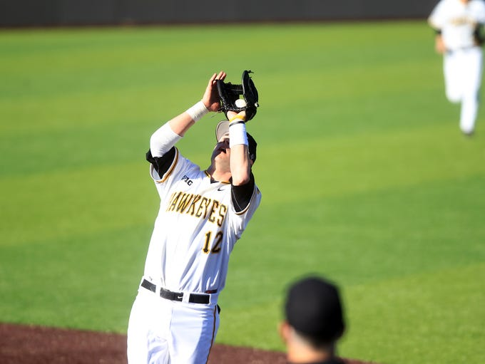 Iowa's Jake Mangler pulls in a fly ball during the