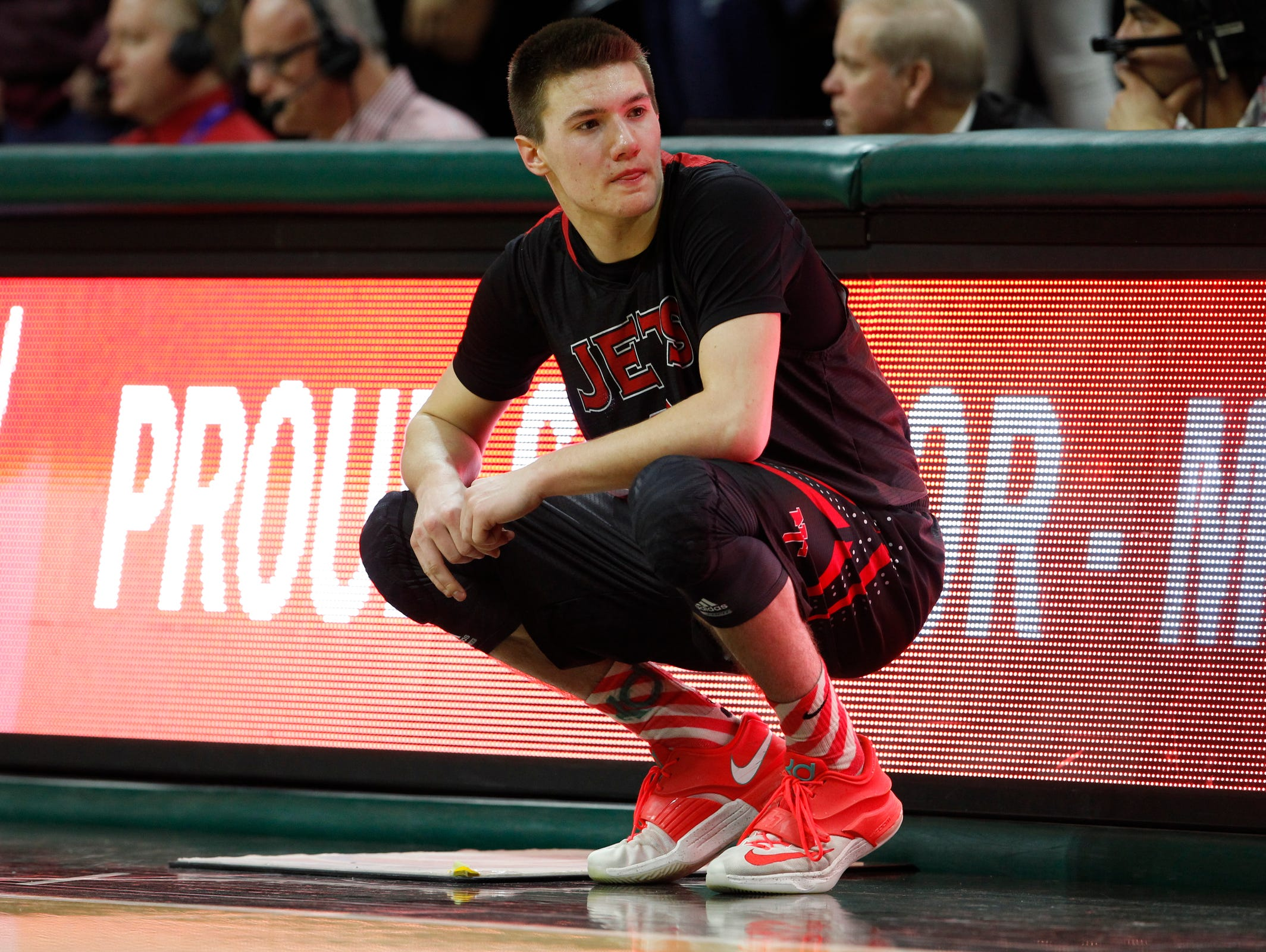 Powers North Central's Jason Whitens waiting to come in on last time in the second half of their 67-47 win over Morenci in the MHSAA boys basketball Class D finals March 28, 2015 in East Lansing.