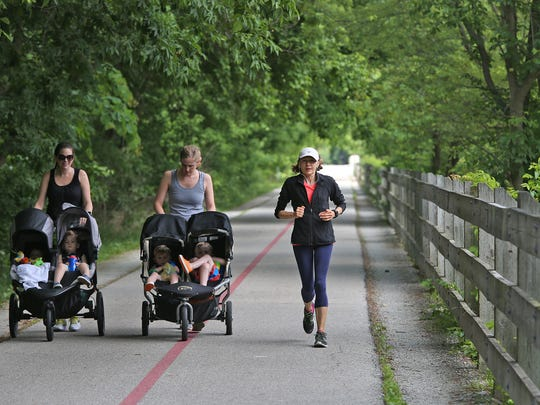 Average life expectancy decreases as you go south along the Monon Trail from Carmel.