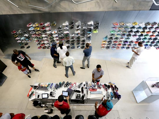 Nojo Kicks, an urban high-end sneaker, jersey and hat retailer on Library Street in downtown Detroit.