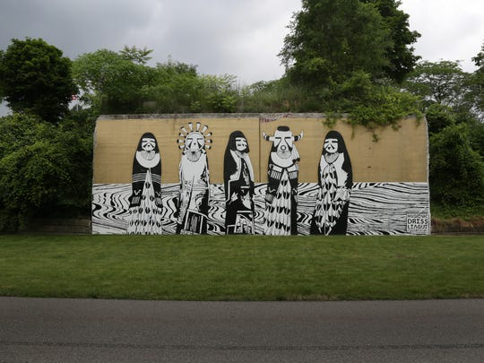 A mural by the Hygienic Dress League in the Dequindre Cut Greenway in Detroit on July 1, 2015.