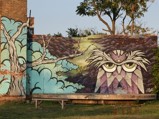"""Owl"" by artist MALT at the Lincoln Street Art Park in Detroit."