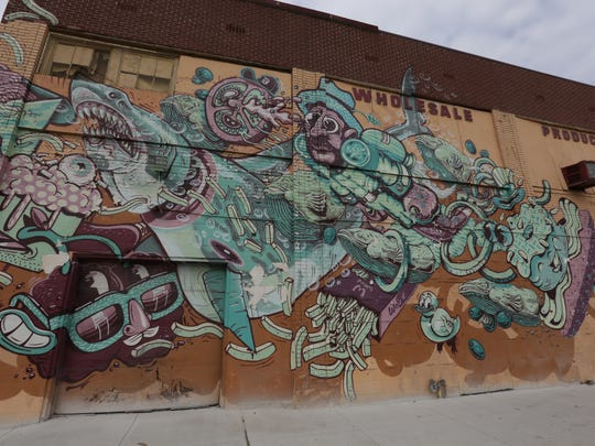 A mural by The Weird on Motor City Produce at 2611 Russell Street in the Eastern Market in Detroit.