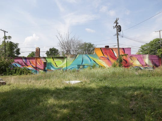 Philippe Mastrocola's mural at 15th and Forest in the Grand River Creative Corridor in Detroit on August 14.