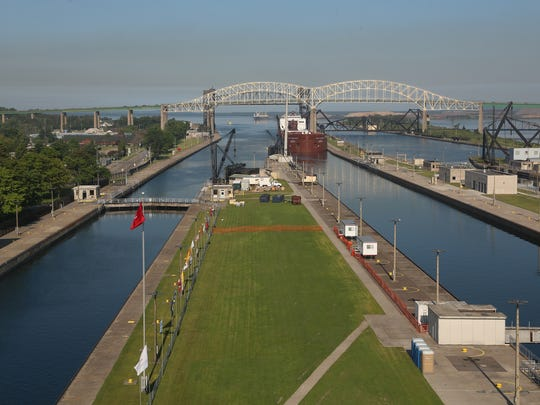 The 1,013 foot long Paul R. Tregurtha freighter enters the Soo Locks in Sault Ste. Marie, Mich. on Friday, June 26, 2015.