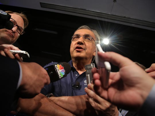 Fiat Chrysler CEO Sergio Marchionne speaks to the media at a ceremony marking the beginning of its contract talks at the UAW-Chrysler National Training Center in Detroit in July.