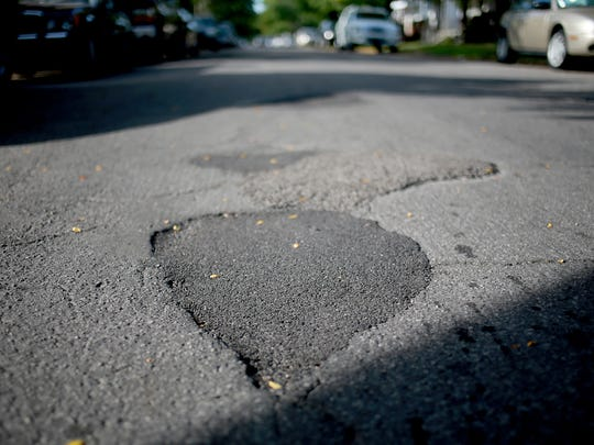 A patched potholes.