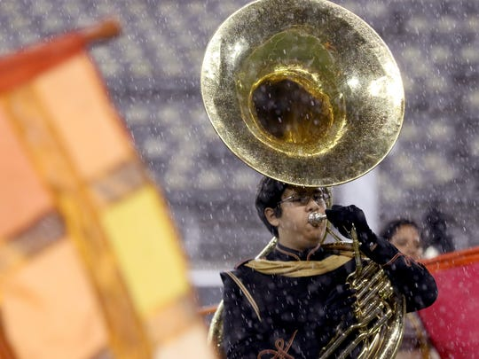 The North Salem marching band performs during the NWAPA