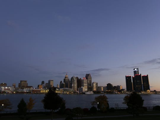 The Detroit Skyline viewed from Windsor Canada in 2014.