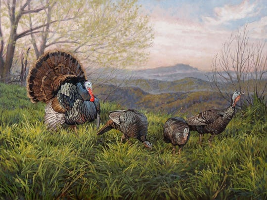 """""""Grandfather Gobbler,"""" one of Boone artist  Ryan Kirby's paintings, which was painted north of Boone in the mountains and features Grandfather Gobbler on the horizon. A limited edition of framed canvas prints are available."""