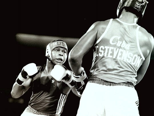 Tyrell Biggs, Olympic Gold medalist in 1984, takes on 3-time Olympic gold medalist Teofilo Stevenson of Cuba during a USA-Cuba card at the Reno-Sparks Convention Center in 1984. Stevenson won the fight.