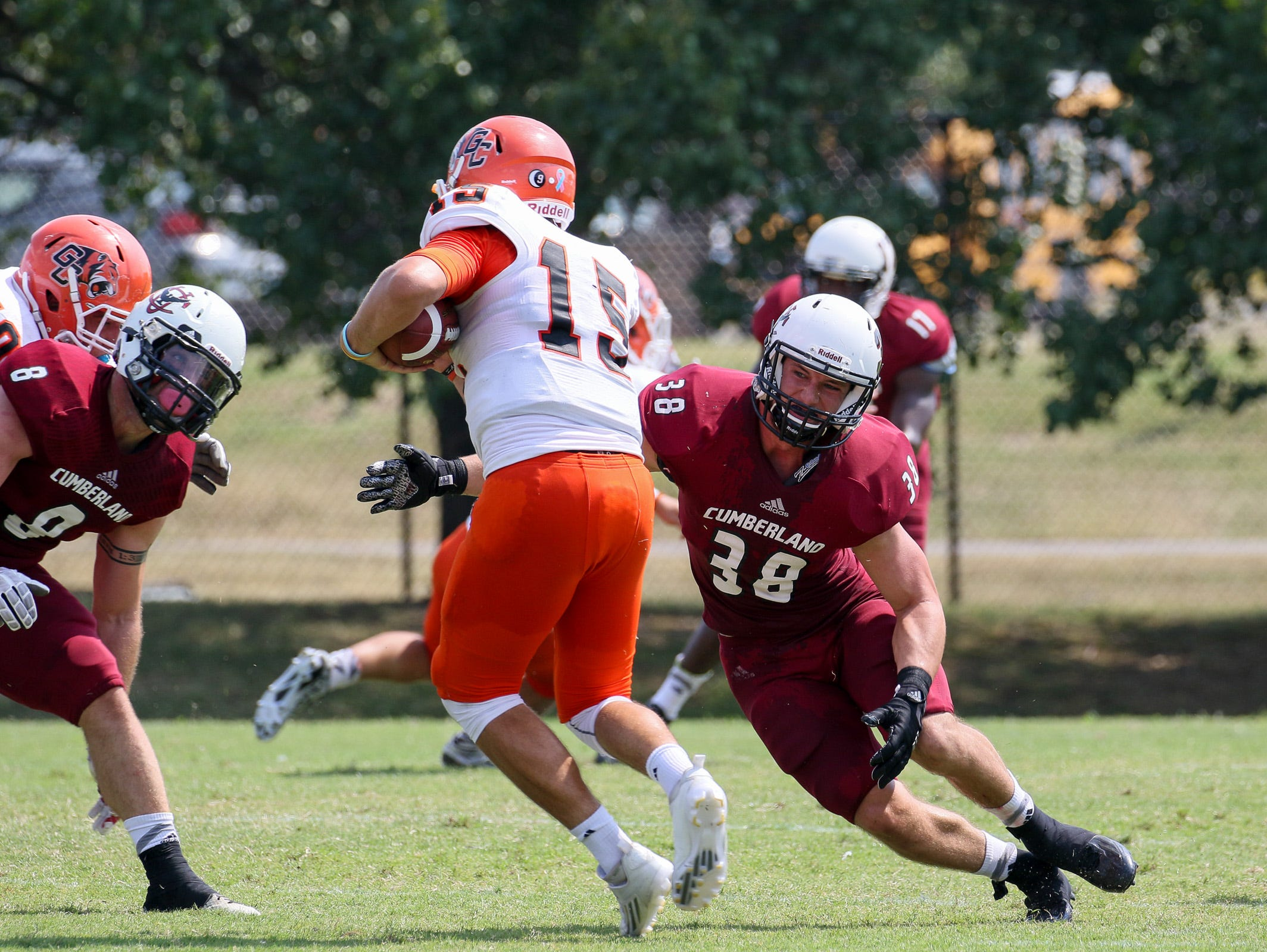 Former Eagleville standout Nathan Jernigan (38) has led Cumberland University in tackles the past three years.