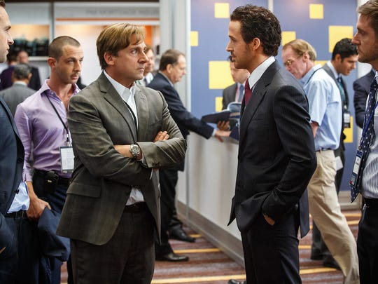 """Left to right: Rafe Spall plays Danny Moses, Jeremy Strong plays Vinnie Daniel, Steve Carell plays Mark Baum, Ryan Gosling plays Jared Vennett and Jeffry Griffin plays Chris in """"The Big Short."""""""