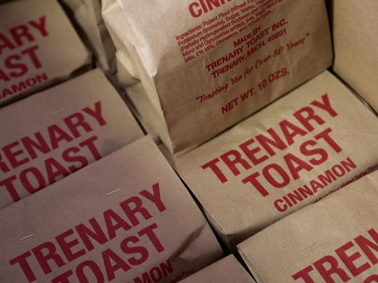 Bags of Trenary Toast wait to be shipped to a customer