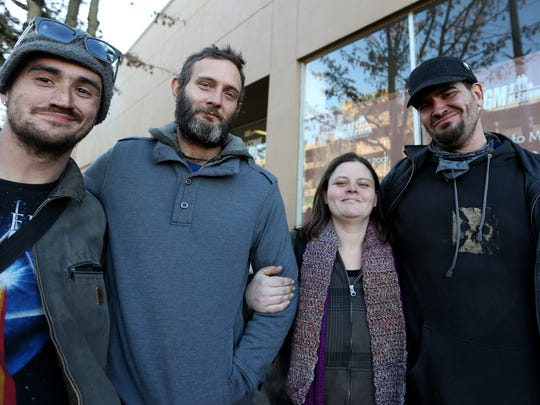 """Todd Jaycox, from left, 29, Brock Wilder, 35, Katrica Young, 29, and Paul Againeses, 37, are all homeless in Salem. Photographed at the Union Gospel Mission in downtown Salem on Sunday, Jan. 10, 2015. """"I have yet to see a program where the homeless can actually get out of the situation,"""" Wilder said. """"You're always jumping through hoops just to stay in the program here."""""""
