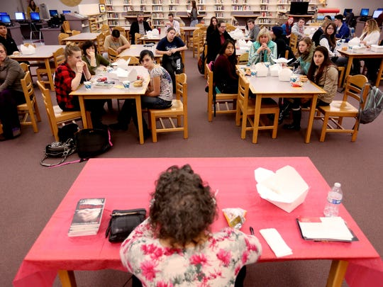 Portland author April Henry speaks with students at North Salem High School on Tuesday, Jan. 12, 2016.
