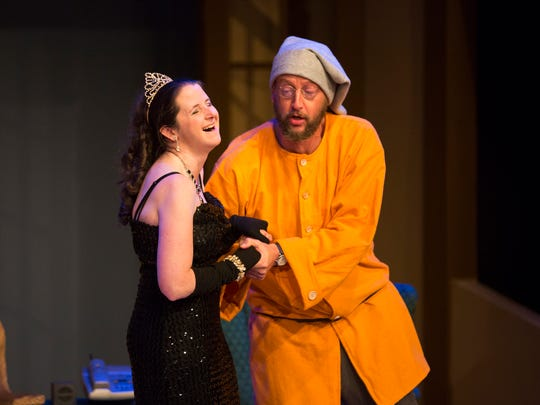 """Julianna Gibbons as Sonia and Jeff Sanders as Vanya rehearse a scene from act two of """"Vanya and Sonia and Masha and Spike"""" at Pentacle Theatre."""