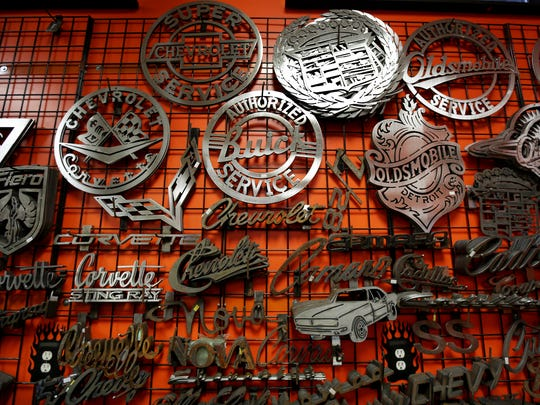 Designs created at Len and Tina Von Speedcult's metalworking shop in New Boston, MI on Wednesday December 9, 2015.