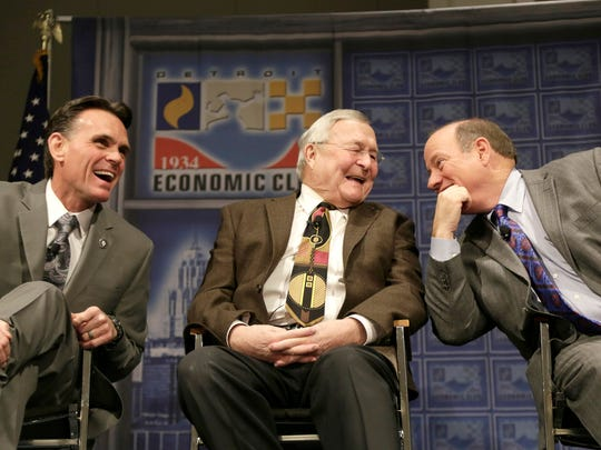 Macomb County Executive Mark Hackel, left, shares a laugh with Oakland County Executive L. Brooks Patterson and Detroit Mayor Mike Duggan on stage at the Detroit Economic Club luncheon at COBO Center Tuesday Jan. 19, 2016. Mandi Wright/Detroit Free Press