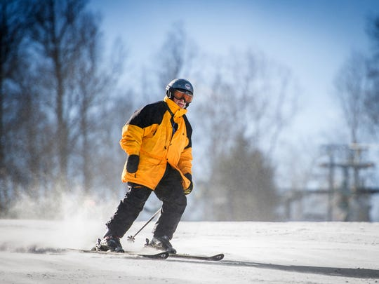 Lee Lentz, 84, of Loganville, makes one of his 20 or so runs down the Minuteman slope at Ski Roundtop Mountain Resort. He usually tries for 20 runs every time he goes skiing, but sometimes loses track and makes more than that.