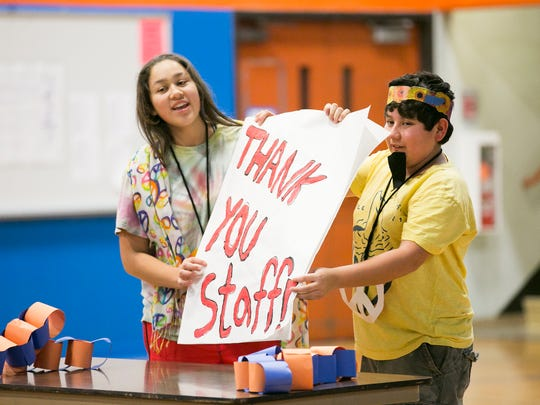 Whiteaker Middle School students explain the themes for the school's upcoming spirit days at an anti-bullying assembly on Friday, Jan. 22, 2016. Next week the school will be participating in the national Great Kindness Challenge, and on Wednesday students will have the opportunity to write  thank you cards for staff during the lunch period.
