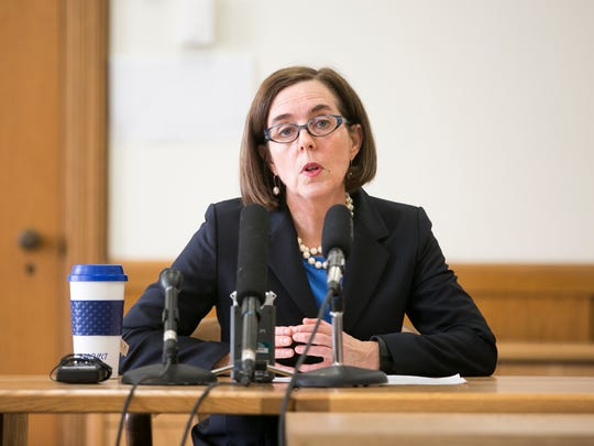 Governor Kate Brown speaks at a media briefing at the State Capitol in Salem on Tuesday, Jan. 26, 2016.