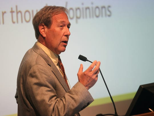 University of Iowa President Bruce Harreld speaks to guests during a town hall meeting at the Pomerantz Center in February.