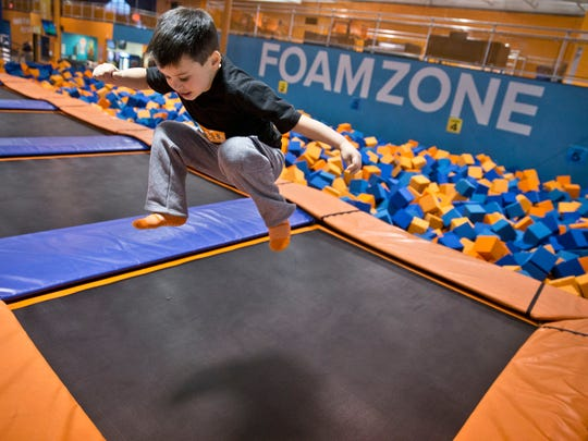 Cullen Swayze, 5, of Brick, is airborne at  Sky Zone