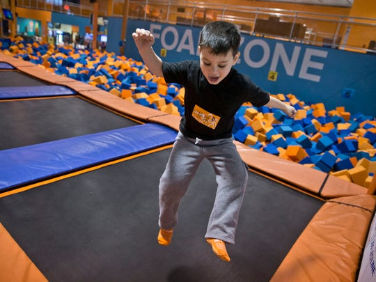 Cullen Swayze, 5, of Brick, has fun in the Foam Zone at Sky Zone in Ocean  Township.