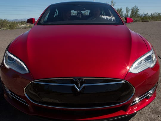 The Tesla Model S P90D sits in Papago Park in Phoenix, Ariz. on Feb 26, 2016.