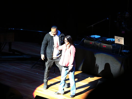 Actor Jesse Williams stands with Dr. Mona Hanna-Attisha as many stars participating in a free concert , #justiceforflint organized by Blackout for Human Rights at the Whiting Auditorium in Flint Sunday, Feb. 28, 2016.  The performances are promoting solidarity and support for those affected by the Flint water crisis. Regina Boone/Detroit Free Press