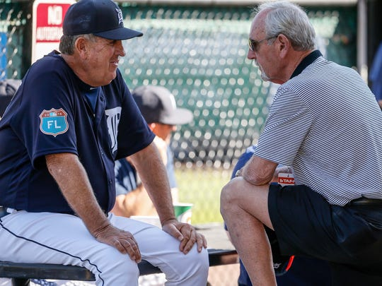 Detroit Tigers bench coach Gene Lamont talks with former Detroit Tigers manager and current special assistant to general manager Jim Leyland before an exhibition game against the Pittsburgh Pirates at Joker Marchant Stadium in Lakeland, Fla. on Tuesday, March 1, 2016.