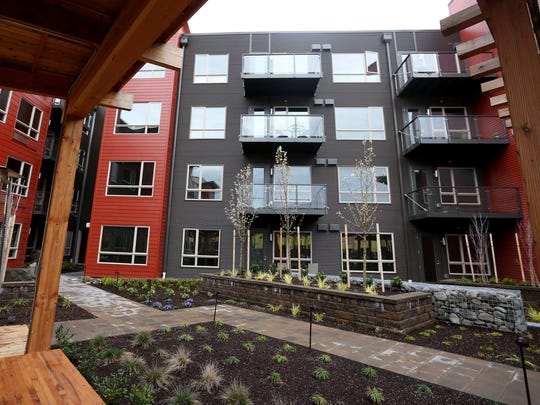 An outside community area at the South Block Apartments, the former Boise Cascade site, in downtown Salem on Tuesday, March 1, 2016.