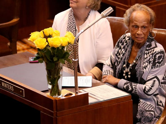 """Sen. Jackie Winters returns to the Senate floor for Sine Die to adjourn the 2016 legislative session at the Oregon State Capitol in Salem on Thursday, March 3, 2016. Winters has been out this entire legislative session do to health concerns. """"The incomparable has come to the floor,"""" Senate President Peter Courtney said of Winters. """"We have been incomplete this session."""""""