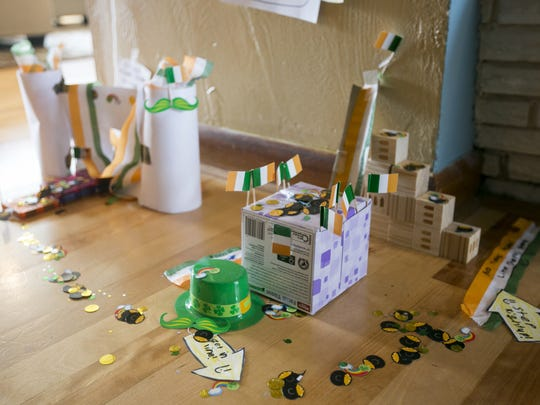 Leprechaun traps set by Gwen, 7, and Cora Sorem, 9, await the footsteps of a tiny leprechaun on St. Patrick's Day. The family tradition has been going for several years, and Kate Sorem says it's a great way for her girls to have fun as they connect with their Irish heritage.