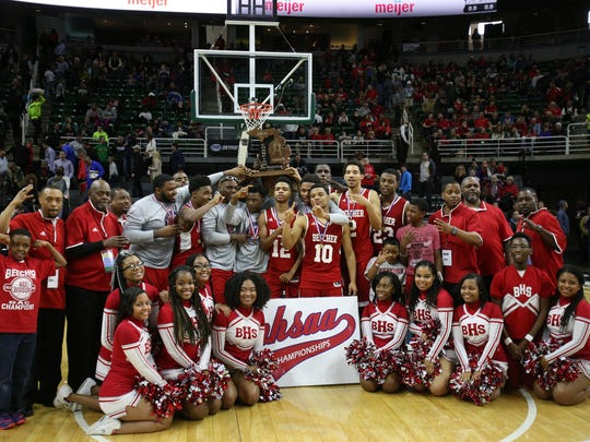 Flint Beecher poses for a portrait after winning the MHSAA boys basketball Class C championship at the Breslin Center in East Lansing.
