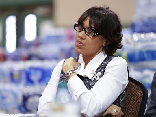 Flint Mayor Karen Weaver takes part in a town hall meeting she put on Thursday March 17, 2016, at the Brennan Senior Center in Flint.