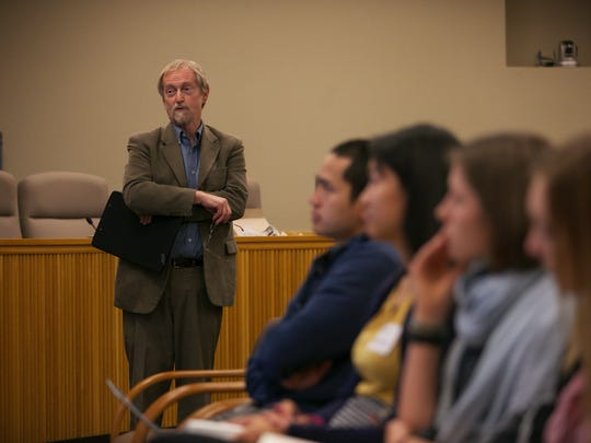 Angus Duncan, Chair of the Oregon Global Warming Commission, speaks at a discussion about Oregon's implementation of the Clean Power Plan at the Capitol on Tuesday, April 5, 2016.
